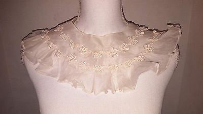 Antique VTG Victorian clothes top sheer Lace ruffle floral applique collar
