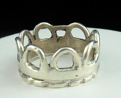 Vtg Hefty 10.3g STERLING Large MEDIEVAL Hand Crafted CROWN Man's RING Sz 12 1/2