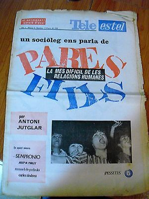 "The Beatles:rare Spanish Magazine""tele Estel""(Catalonian Newspaper) Vintage 1966"
