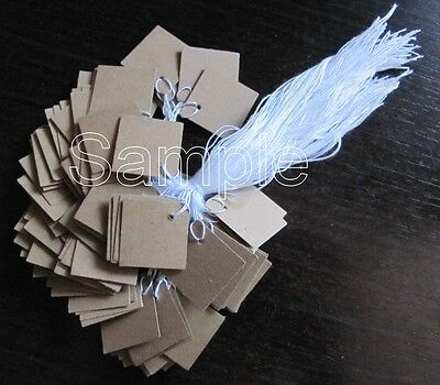 "50 Jewelry Gift Party Hang Mini Square Tags with White String 3/4"" x 3/4"" -Kraft"