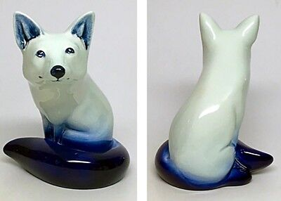 Royal Doulton Blue Flambe Figurine Fox Seated Position.