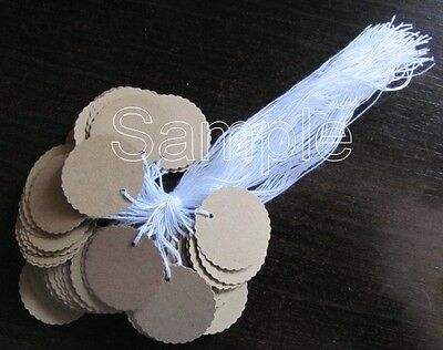 "50 Jewelry Gift Hang Scalloped Small Circle Tags with White String 1"" - Kraft"