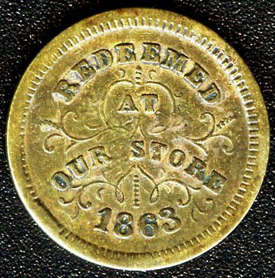 """1863 Robinson & Ballou Grocers """"Redeemed At Our Store"""" Troy N.Y. Civil War Token"""