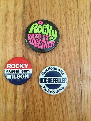 Vintage Nelson Rockefeller President Campaign Button Pin back Rocky Lot Of 3