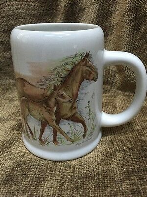 Unused 1983 Enesco Horse Design Handled Mug Stein signed Per Lindstrom 16oz