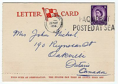 GB, 1958, Canadian Pacific Letter Card, Paquebot cancel, Empress of England, VF