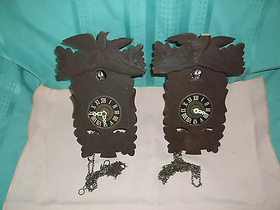 2 Vintage 30 hour Black Forest wooden Wall Cuckoo clocks