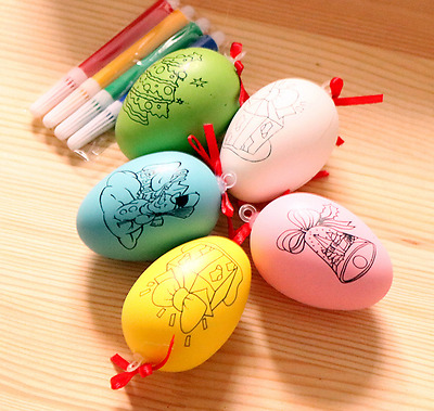 1Pcs Cute Colorful Egg DIY Hand Painted Painting Gifts Kids Party Kids Toys U