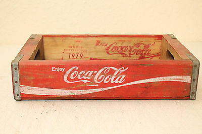 1979 Coca Cola Bottle Crate Vintage Wooden Carrier Advertising Nice No Slots (E