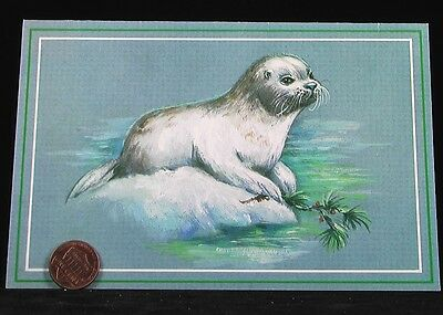 VINTAGE Adorable Seal Sea Lion Ice Holly  Holiday Christmas Greeting Card UNUSED