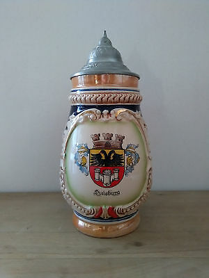 German  Lidded Stoneware Beer Stein