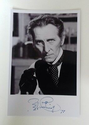 "HAMMER HORROR - Actor Peter Cushing Reproduced Autograph 6""X4"" Glossy Pic"