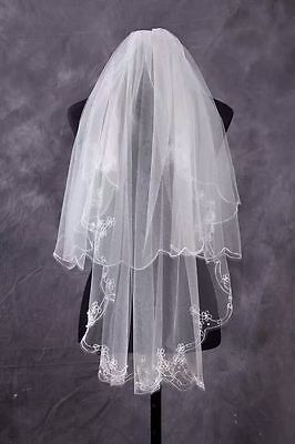 White/Ivory 2T 86CM Pearls Embroidered Wedding Bridal Veil Cathedral With Comb