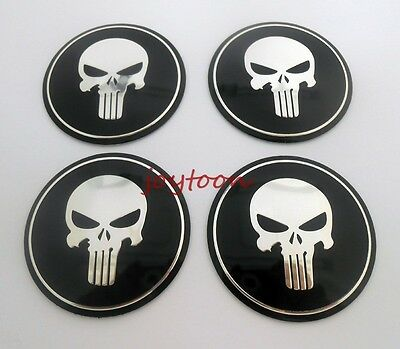 4PCS Wheel Center Caps Stickers Decal Punisher skull 56mm Hubcaps Emblems j5618