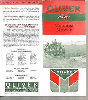 1938 Oliver Tractor Row Crop 70 Mounted Mower Brochure