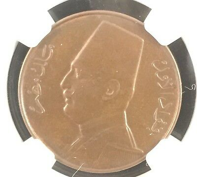 1354//1935H Egypt 1 Milliemes Ngc Ms65 Bn Brown Pop.10
