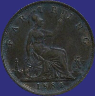 1884 Great Britain 1 Farthing Coin