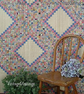 "SHOWSTOPPER Vintage 1930s Smaller than Postage Stamp 7/8"" Pieces QUILT 84"" x 72"""