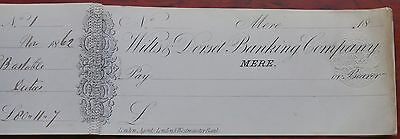 Wilts & Dorset Banking Company, MERE, ELEVEN unused cheques in cheque book