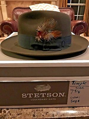 "Stetson ""temple"" Soverieign Sage Size 7 3/8 Great Dress Fedora!"