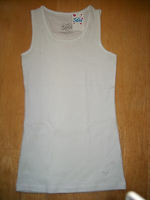 Girl's JUSTICE White Sleeveless Ribbed Cotton/Spandex T-Shirt - Sz 8 - New