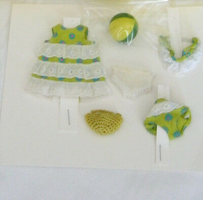 1060s Mattel Barbie TUTTI DOLL Sea shore outfit #3614 + yellow/green Japan ball