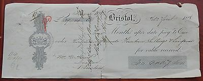 """Four Months after pay"" cheque, Bristol, Feb 1 1878, to The Wilts & Dorset Bank"
