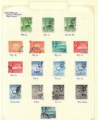 Aden 1953 QEII Pictorials on 2 Album Pages SG.48/65 Used  Perfs/Shade Varieties