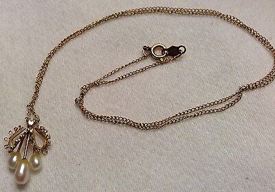 """Vintage 14K GF Chain Necklace with Freshwater Pearls Pendant Dainty 17"""""""