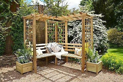 Garden Wooden Large Seat Corner Arbour Pergola Bench Patio Yard Garden House