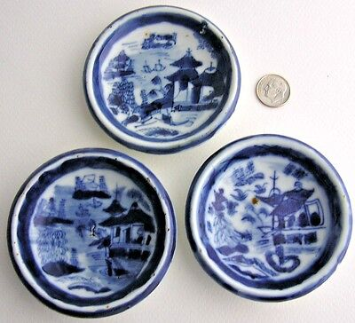 3 Antique Chinese Export Canton Blue White Porcelain Butter Pats Sauce Dish Bowl