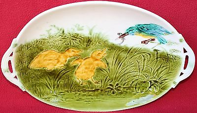 Rare Antique French Sarreguemines Majolica Ducklings & Kingfisher Platter C 1880
