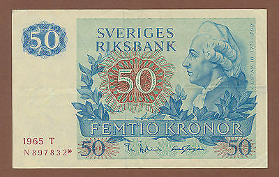 "Sweden, 50 Kronor 1965 (N 897832*) P-53a VF ""replacement"""