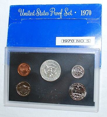 "1970-S ""no S"" U.S. Proof Set -RARE- no ""S"" mintmark on dime - with original pkg."
