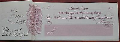 National Provincial Bank of England, Shaftesbury branch, unused cheques in book