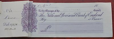National Provincial Bank of England, Sherborne branch, 2 unused cheques in book