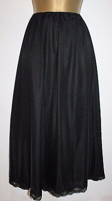 Gorgeous Glossy Vtg St Micheal Black Long Length Half Slip Size 16