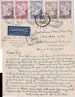 Greece 1945 Athens with Victory stamps censored to Egypt and again {Below}