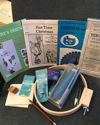 Easy Punch Embroidery Deluxe  Kit Lot Ac Adapter Machine Hoop  2 Books $75.00