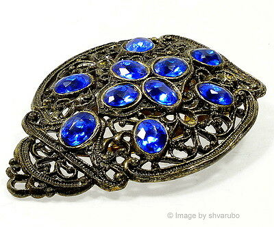 Antique Victorian Royal Blue Glass Filigree Pewter Dress Clip
