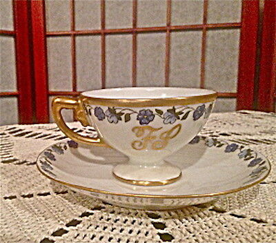 Antique Rosenthal Monogrammed Demitasse Cup and Saucer