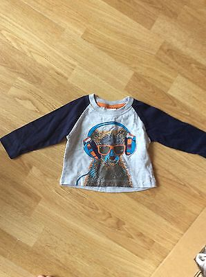 Boys Grey/blue Top From Peacocks Size 3-6 Months