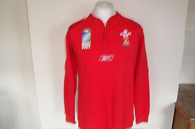 Wales Rugby Union 2007 World Cup Long Sleeve Home Jersey Shirt Medium Mens