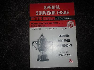 """Manchester United V Blackpool,1974-75,""""united Crowned Second Divion Champions"""""""