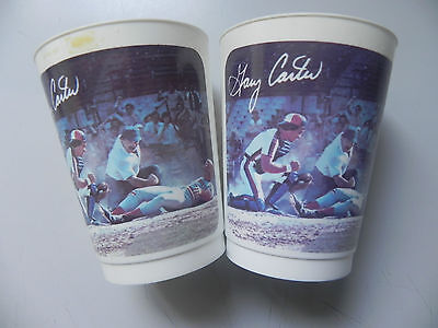 Vintage Gary Carter Plastic Cup 7Up (Baseball , Montreal Expos) Lot of 2