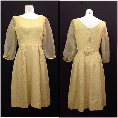 Vintage NOS Deadstock 60s Vibrant Yellow Floral Embroidered Wiggle Dress S