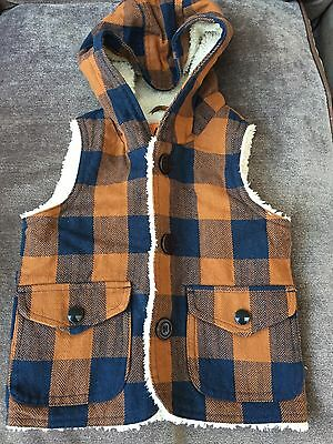 Next boys tan and navy blue checked hooded gilet. Size 9-12 months.