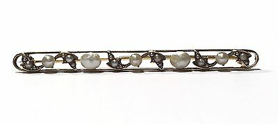 Victorian Seed Pearl 14k Yellow Gold Open Scroll Vines Oval Long Bar Brooch Pin