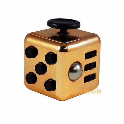 GOLD Black Fidget Cube Toy Anxiety Stress Relief Focus Attention Work Puzzle New