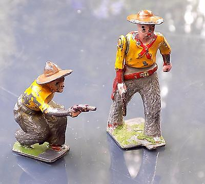 Vintage Painted Lead American Cowboys x 2, W. Britains, England.